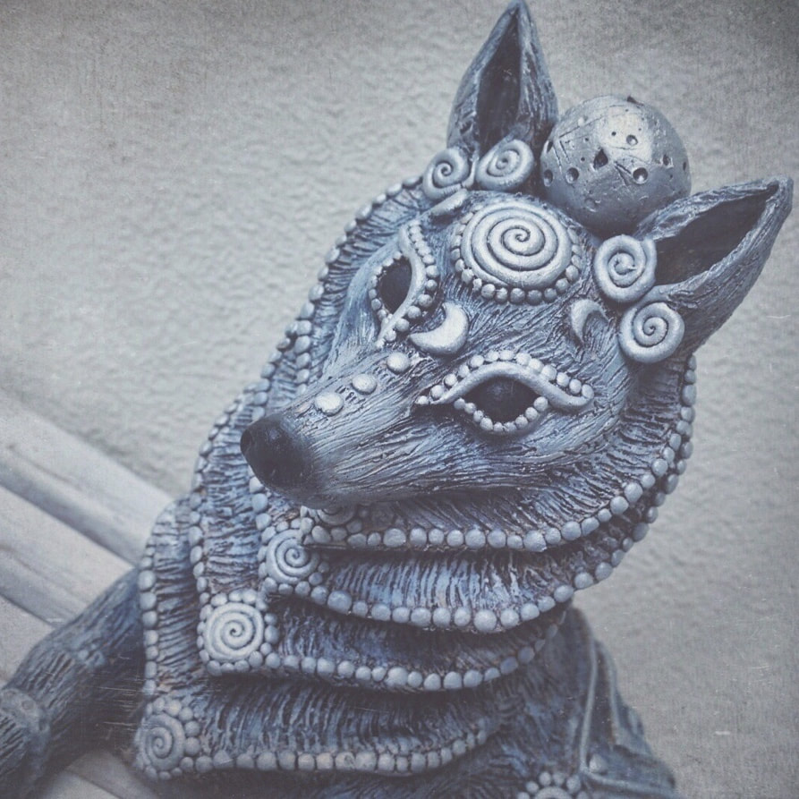Ceramic wolf Sculpture